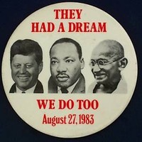 they had a dream martin luther king- jfk and ghandi 3.5 VINTAGE BUTTON