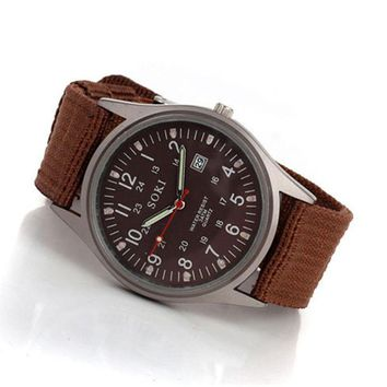 Luxury Men's Military Canvas Band Watches Male Clock Vogue Stainless Steel Dial Analog Quartz Wrist Watch Relogio Masculino #Ju