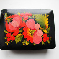 Vintage jewelry wooden box - Khokhloma box - USSR vintage - vintage flower box