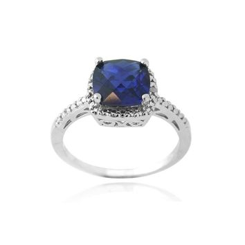 Silver Tone Lab Created Sapphire & Diamond Accent Square Ring S8
