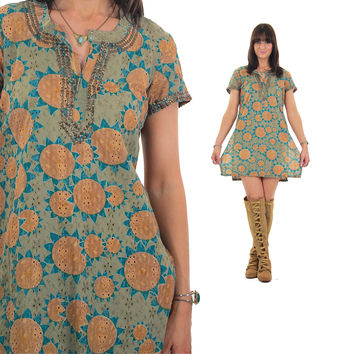 Vintage 70s boho floral mini dress Boho mini dress  Abstract India Dress hippie tunic dress gypsy dress Beaded bohemian mini dress L