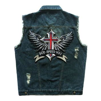 HEROBIKER Motorcycle Rider Vest Clothing Classic Vintage Biker Motorcycle Vest Men Club Denim Vest Sleeveless Motorcycke Jacket