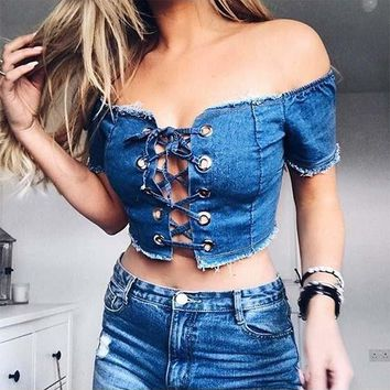 Blue Lace Up Boat Neck Short Sleeve Jean T-Shirt