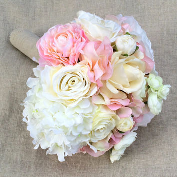 Silk Hydrangea Wedding Bouquet. Real Touch Bouquet Silk Peonies Hydrangea Ranunculus Roses. Silk Bridal Bouquet in Cream White Blush Pink.