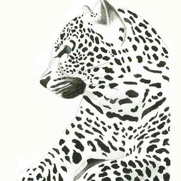 African Leopard - Print of original watercolor illustration by Lexi Rajkowski, animal print, home decor