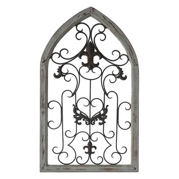 Belle Maison Arched Scroll Gate Wall Decor (Grey)