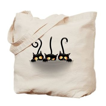 THREE NAUGHTY PLAYFUL KITTIES TOTE BAG