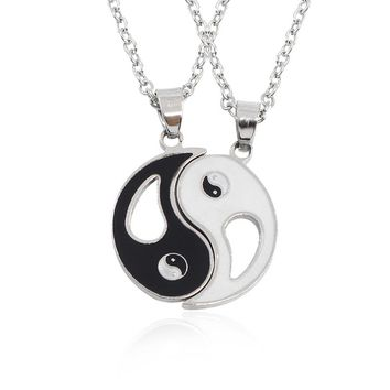 2 PCS Best Friends Necklace Jewelry Yin Yang Tai Chi Pendant Necklaces