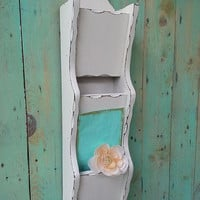 Vintage Shabby Chic Rustic Wooden Mail Holder with Key Hooks Painted Antique White and Distressed