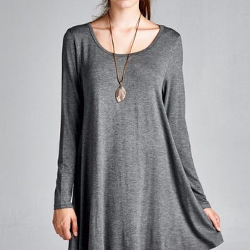 Morning Fog Long Sleeve Swing Dress - Charcoal
