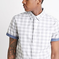Chambray-Trimmed Gingham Shirt