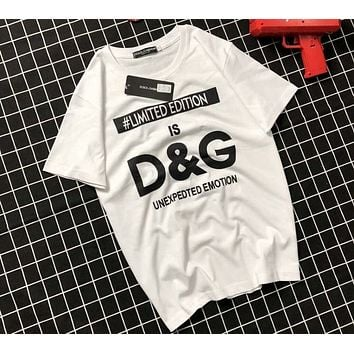 D&G Dolce & Gabbana 2018 Summer New Fashion Wild Thin Short Sleeve T-Shirt F-AG-CLWM white