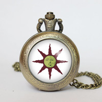 Handmade Dark Souls Solaire of Astora Sun symbol Yaranaika pocket watch locket necklace Dark Souls vintage locket necklace