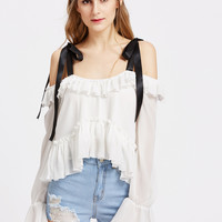 Tied Cold Shoulder Bell Sleeve High Low Ruffle Top | MakeMeChic.COM