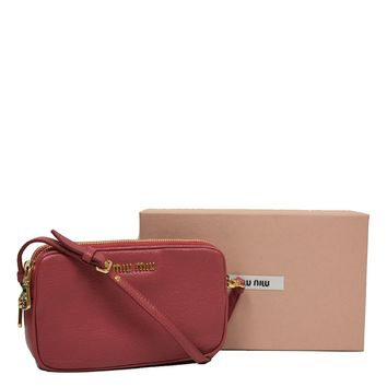Miu Miu by Prada Rose Pink Leather Wristlet Pouch Bag 5ARH02