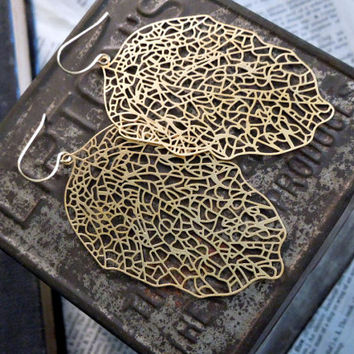 Leaf Earrings - Large Gold Brass Filigree Leaf Pendant Earrings Gold Fish Hook Earwires