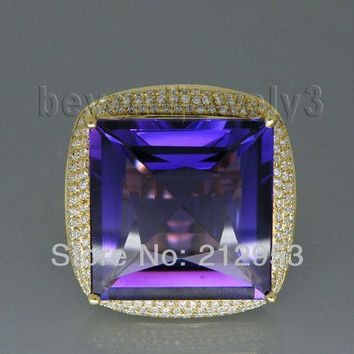 24.75ct Big Solid 18Kt &750 Yellow Gold Natural Amethyst Ring 2.26ct Diamond Gemstone Engagement Ring Amethyst Jewellry SR323A