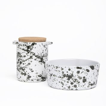 Splash Ceramic Dog Treat Jar & Bowl