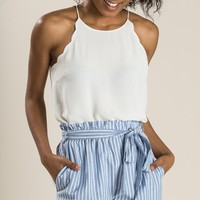 Hazel Blue Stripe Shorts
