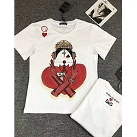 "D&G Popular Women Men Casual ""Queen Of Hearts In Poker"" Print Round Collar T-Shirt Top"