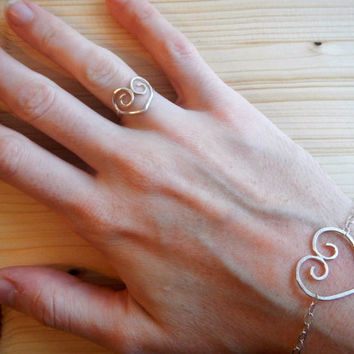Sterling Silver Filagree Heart Set, Delicate Minimalist Valentine's Day Ring and Bracelet Set, Gift for Girlfriend Mom Wife Gift for Her