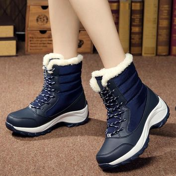2018 fashion Women boots waterproof winter ankle snow boots women non-slip platform winter shoes with thick fur botas mujer