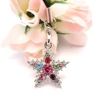 Multi Snow Star Cell Phone Charm Strap Rhine Stone