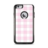 The Light Pink and White Plaid Pattern Apple iPhone 6 Plus Otterbox Commuter Case Skin Set