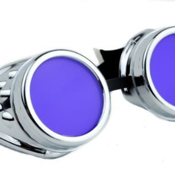 Silver Frame Purple Lens Goggles Anime Cosplay Glasses