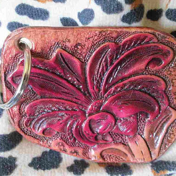Key chains, tooled floral key chain, Red flower keychains, keyrings, hand tooled leather, custom leather,
