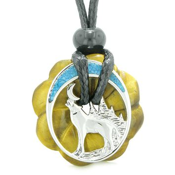 Unique Magic Howling Wolf Moon Amulet Lucky Celtic Donut Tiger Eye Spiritual Protection Powers Necklace