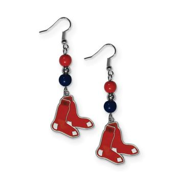 MLB Boston Red Sox Fan Bead Dangle Earrings