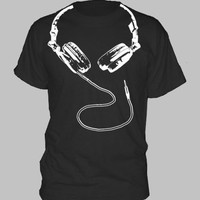 DJ HEADPHONES T-SHIRT ~ hip hop dance house techno rave party