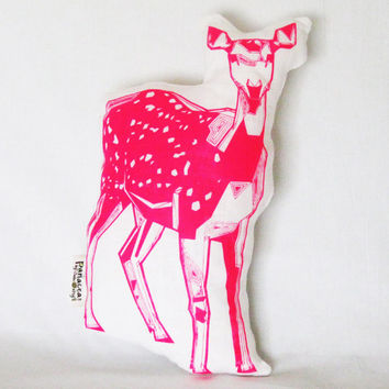 Florescent Magenta Geometric Linen Screen Printed Novelty Deer Pillow