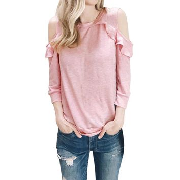 Ladies Fashion Blouses 2017 Women Pink O Neck Cold Shoulder Long Sleeve Tops Casual Blouse for Female Elegant Tee Shirt Blusas