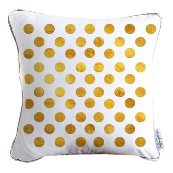 Gold Polka Dot Throw Pillow w/ Reversible Gold & White Sequins - COVER ONLY (Inserts Sold Separately)