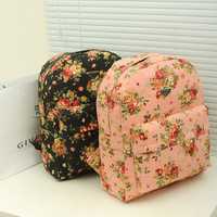 Vintage Cute Lightweight Floral Canvas Laptop Backpack
