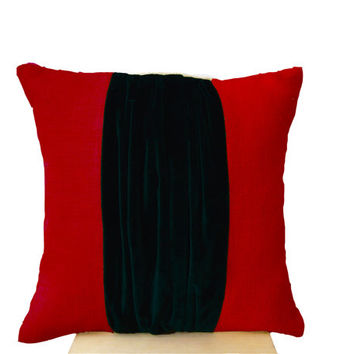 Red Burlap Pillow -Color Block Pillow -Burlap Color Block Pillow -Red Black Velvet Color Block Cushion -Decorative Throw Pillow -16x16 -Gift