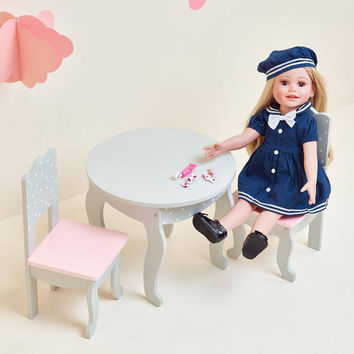 "Olivia's Little World - Polka Dots Princess 18"" Doll Table & 2 Chairs Set - Grey"