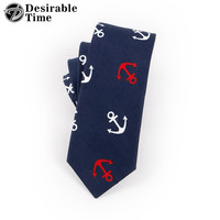 Men Anchor Cotton Neck Ties New Fashion Christmas Gifts Navy Blue Slim Neck Tie For Men