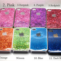 Blush Nail Polish iphone 5 4s case iphone 4 case iphone 4s case iphone 5 case Green pink glitter Glittery Sparkly Sparkle Bling PINK rainbow