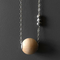 Essential Oil Aromatherapy Diffuser Wood and Pyrite Necklace