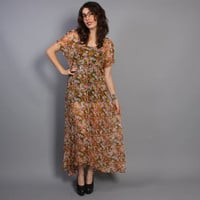 80s FLORAL MAXI DRESS / Sheer Gold & Pink Loose Fit Buttoned Dress