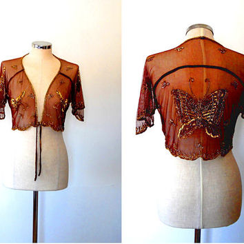 Beaded sequin sparkly butterfly lace bolero shrug / brown / gold / semi sheer / vintage / evening / tie / waterfall sleeve / shrug top