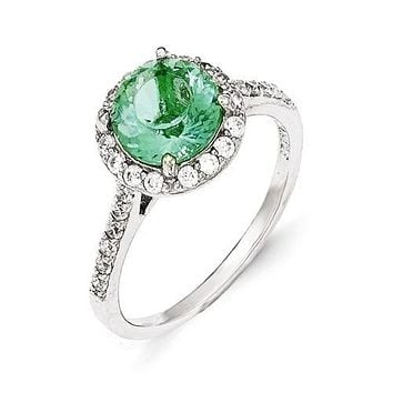 Cheryl M Sterling Silver Simulated Paraiba Tourmaline and CZ Halo Ring