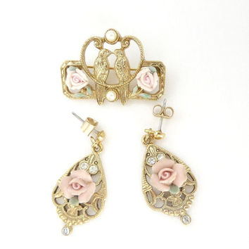 Vintage Rose Brooch and Earring Set, Gold Tone Filigree, Lovebirds Pin, Faux Pearl, Rhinestone Pin, Pierced Earrings