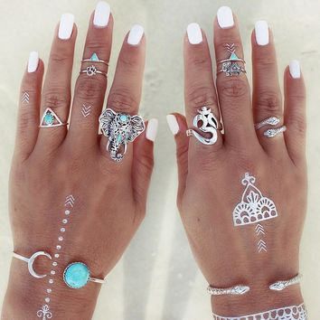 TOMTOSH 2017 8pcs /Pack Boho Retro Elephant Snake Blue gem Rings Lucky Stackable Midi Rings Set of Rings for Women Party