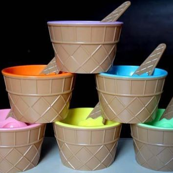 Plastic Durable ICE Cream Bowls Spoons Set