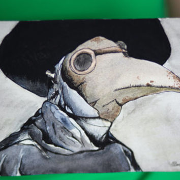 Plague Doctor 6x9 watercolor painting