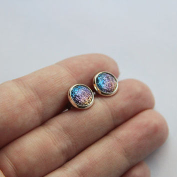 NEW - SMALL Faceted Glitter Earrings, Orange/Pink/Purple/Blue - Posts/Studs 8mm SMALL